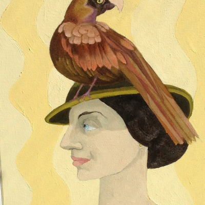 Lady wearing a parrot hat