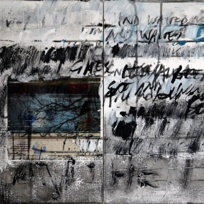 between the lines, 41x102x4cm, diptych, mixed media on canvas, 2014